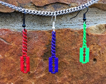 Colorful Razor Blade Dangle Earring *SINGLE & PAIR*