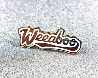 Weeaboo pin hard enamel gold 3cm - anime otaku japanese lapel pin brooch badge flair collar pin hat pin anime trash otaku trash