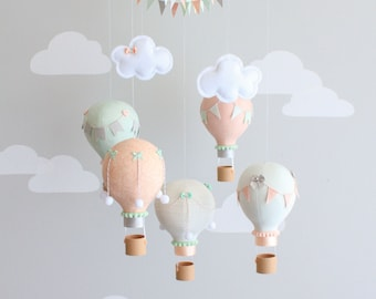Mint, Peach, Gray, Baby Mobile, Hot Air Balloon Mobile, Custom Mobile, Nursery Decor, Personalized Baby Mobile, Made to Order, i157