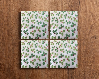 Holiday Mistletoe Set of 4 Tile Coasters