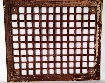 Vintage Metal Heating Vent Cover, Grate, Architectural Salvage Register Cover, Antique