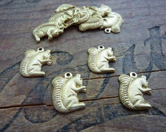 Brass Stamping Squirrel Charm (4) Made in USA