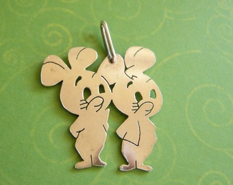 Vintage Sterling Silver Large Mice Charm from Spain Pixie and Dixie