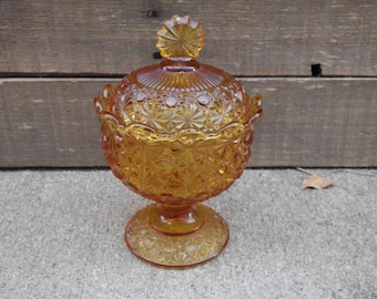 Amber Glass Covered Candy Dish - Compote Dish