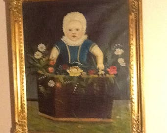 Antique oil painting in stucco frame 1880's