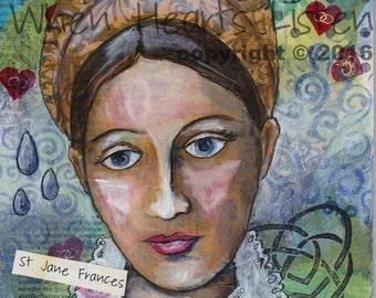St. Jane de Chantal, Patron saint of widows, patron saint of in-laws, saint painting, inspirational art, home decor