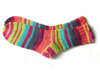 Colorful womens wool knit socks, cozy hand knitted striped socks for women