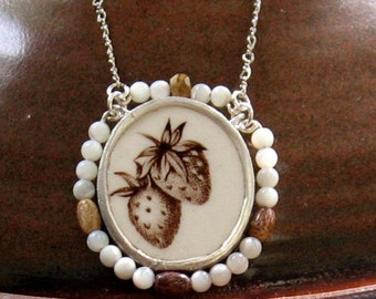 Vintage Broken China Ceramic Shard Necklace, Sterling Silver and Beads, Lovely Autumn's Delight