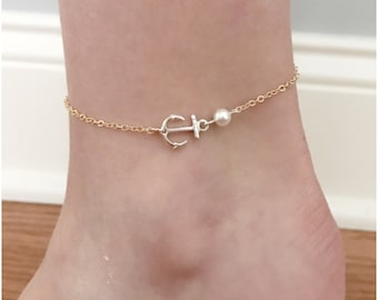 Two Tone Anchor Anklet - Silver Gold Anchor Jewelry - SummerGold Fill Chain Silver Anchor Charm - Your Choice of Swarovski Pearl Color
