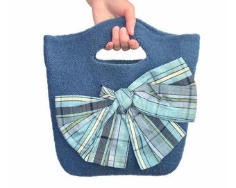 Blue Felt Purse Knitted Felted Wool Eileen Dusk Blue Bag Silk Lining Bow Lightweight Bag Vegan Purse