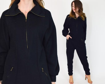 80s Black Knit Jumpsuit | Long Sleeve Slouchy Pantsuit Playsuit | Medium
