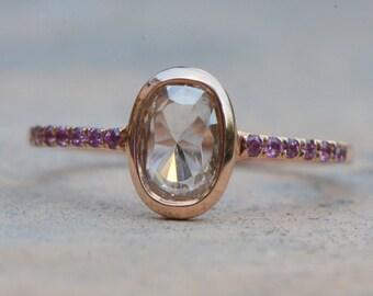 Rose cut diamond ring. 14k pink gold rose cut diamond ring. Rose cut diamond engagement ring. Rhodolite Garnet ring.  Ready to ship.