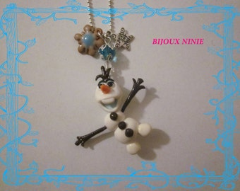 Necklace olaf the queen of snow in fimo