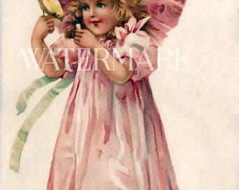 Valentine Pink Roses Heart Girl and Boy Romantic Postcard Vintage Victorian Scrapbooking Instant Digital Download