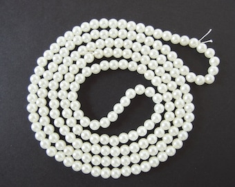 42 Inches Vintage Soft White Pearls, 6mm