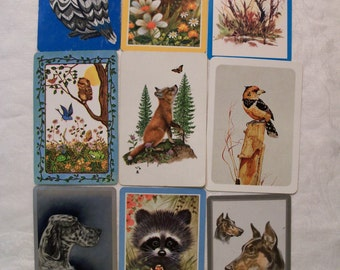 9 Playing cards, Animal Playing cards, Antique Playing Cards, Vintage Playing Cards, Bird Playing Cards