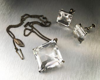 Vintage modern 1950s crystal squares, Sterling silver necklace earrings screw back