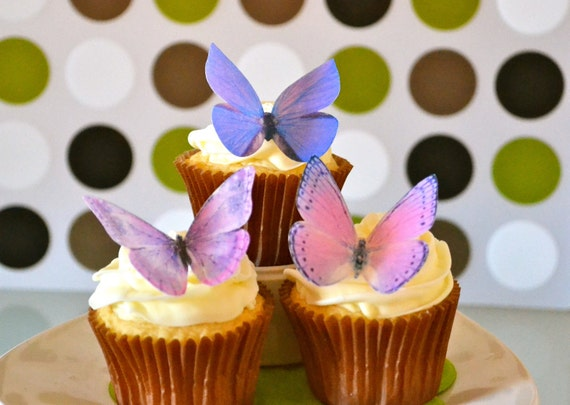 The Original EDIBLE BUTTERFLIES - Large Assorted Purple - Cake & Cupcake toppers - Food Decoration