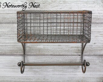 Rustic Farmhouse bathroom organization / kitchen organization / Industrial Kitchen / Industrial Bathroom / Farmhouse Kitchen/ Wire Basket