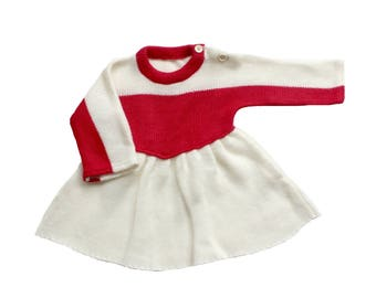 FRENCH VINTAGE 70's / baby girl / winter dress / cream and red / NOS / size 6 months