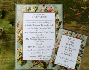 Vintage spring blossom wedding invitations and Save the dates