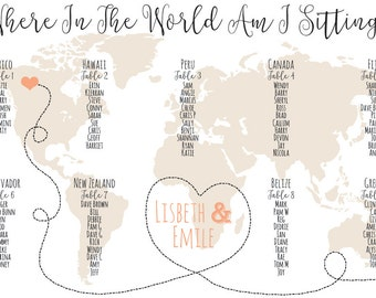 World Map Seating Chart Digital Design Printable PDF Custom Personal Poster Print File ONLY Travel Long Distance Heart