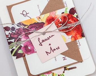 Rustic Floral Modern Wedding Invitation Template,Rustic Floral Wedding Invitation Digital Download,Fall Floral Wedding Printable Invitation