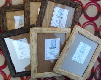 """Rustic/driftwood style frames in locally sourced,recycled pine to fit 8""""x6"""".Natural,Medium dark or Very dark beeswax finish.FREE U.K postage"""