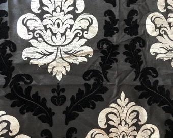 Black Silk Damask Fabric Remnant