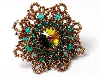 """Ring """"Desy"""" Swarovski rivoli 14mm Nostalgia Spring Lace statement ring"""