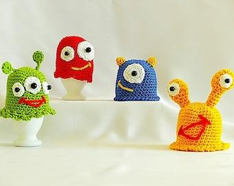 """PDF: Egg Cozy """"Funny Breakfast Monsters"""" Crochet Pattern"""