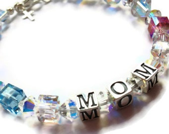 Swarovski and Sterling MOM Bracelet, Mothers Bracelet, Mommy Bracelet, Birthstone Bracelet, Name Bracelet, Sparkle Jewelry