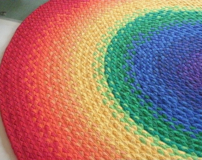 """60""""  Rainbow Rug made from braided recycled t shirt"""