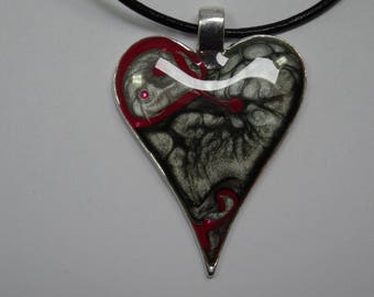Black & red hand painted pendant