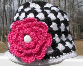 Black and White Toddler Hat with Pink Flower - Granny Square Crochet - Toddler Size 1-2 - Handmade - Multicolor - Soft Yarn