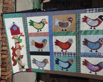 bird quilt, lap quilt, throw quilt,