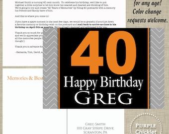 Memories and Birthday Wishes Post card Milestone Birthday Postcard Masculine Printable Postcard Set Orange Gray Chevron 4x6 jpeg files 9