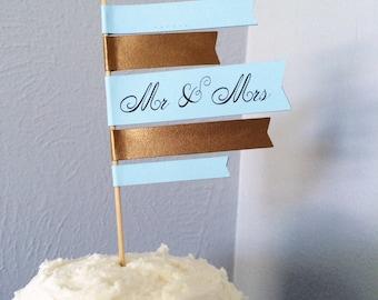 Wedding Cake Topper Flag