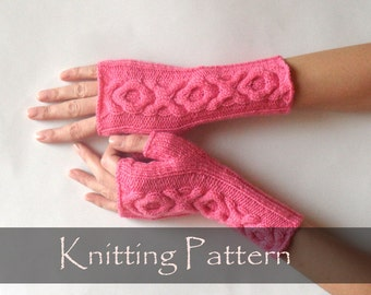 KNITTING PATTERN - Knit Gloves Pattern Xo Cable Gloves Pattern Knitting Pattern Fingerless Gloves Fingerless Mittens Arm Warmers PDF - P0011