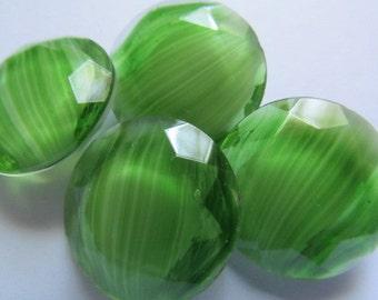 4 Vintage Glass Cabs Rhinestones Green Givre