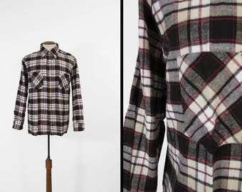 Vintage NOS Black Flannel Shirt Montgomery Ward Cotton Long Sleeve - Size Large