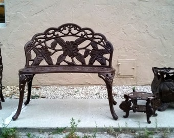 3 pieces of vintage mid century antique strong and sturdy CAST IRON  flowers designs patio furniture set pick up only