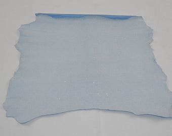 Sequinised blue white lamb skin