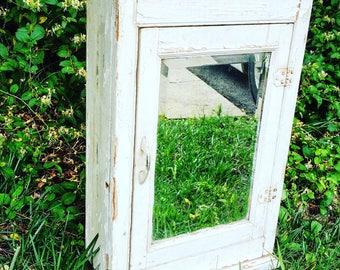 """Wooden Medicine Cabinet / 28"""" X 19"""" X 8"""""""
