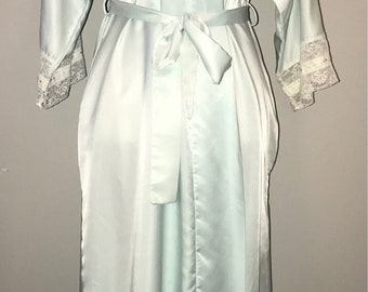 Vintage 80's Baby Blue Satin Robe / size medium/large / by Christian Dior