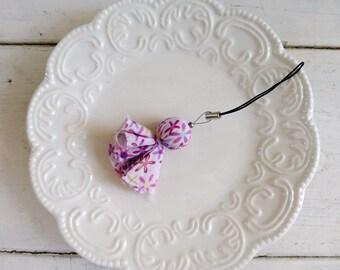 Fabric bead zipper pull, beaded cell phone charm, beaded zipper pull, pink fabric, pink floral, spring accessory, gift idea, ready to ship