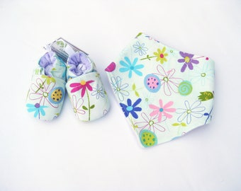 SALE SMALL Spring Flowers / Soft Sole Shoes and Bandana Bib / Baby Gift Ready to Ship