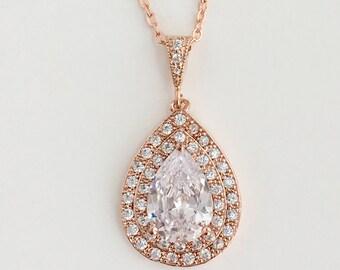 Rose Gold Cubic Zirconia Teardrop Bridal Necklace Rose Gold Wedding Necklace Rose Gold Clear Crystal Necklace Rose Gold Bridesmaid Jewelry