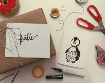 Penguin Birthday - Birthday - Illustrated Blank Greeting Card