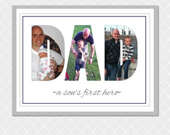 DAD a son's first hero picture word- Custom Digital Print- 5x7- EOgdenAve